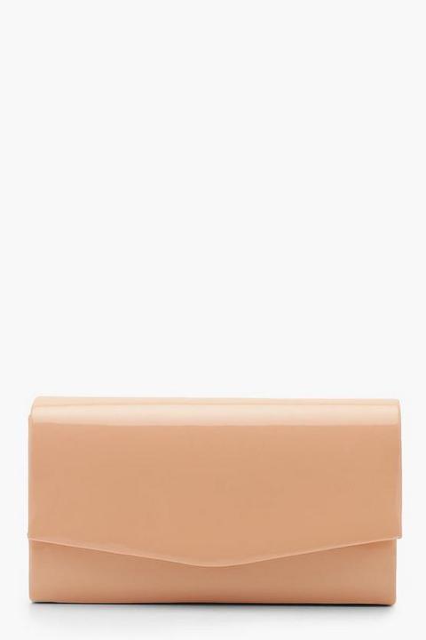 Womens Structured Patent Clutch Bag & Chain - Beige - One Size, Beige