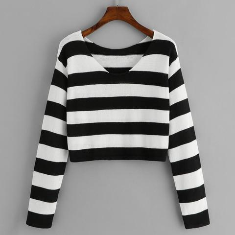 Suéter De Rayas Escote V