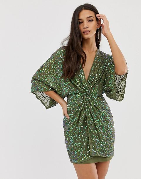 Minivestido Estilo Kimono Con Lentejuelas Y Nudo Delantero De Asos Design de ASOS en 21 Buttons