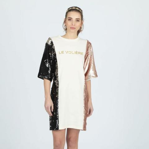 in vendita 33c06 a9fbc Vestito In Felpa Con Doppia Paillettes//double Sequins Sweatshirt Dress  from Le Voliere on 21 Buttons