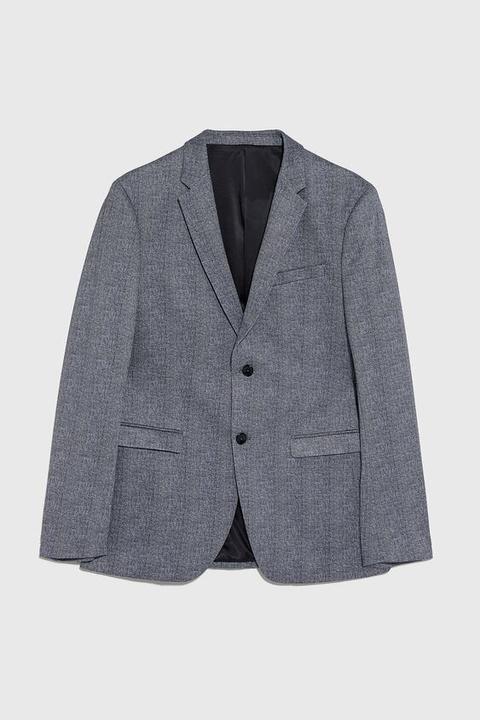 Blazer Conjunto Cuadros Comfort Knit de Zara en 21 Buttons