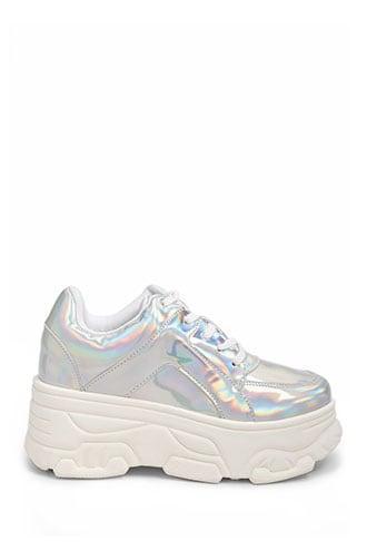 Iridescent Platform Sneakers , Silver