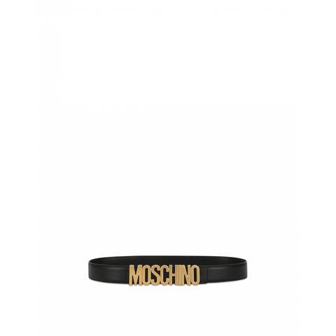Cinturón De Piel De Becerro Con Logo