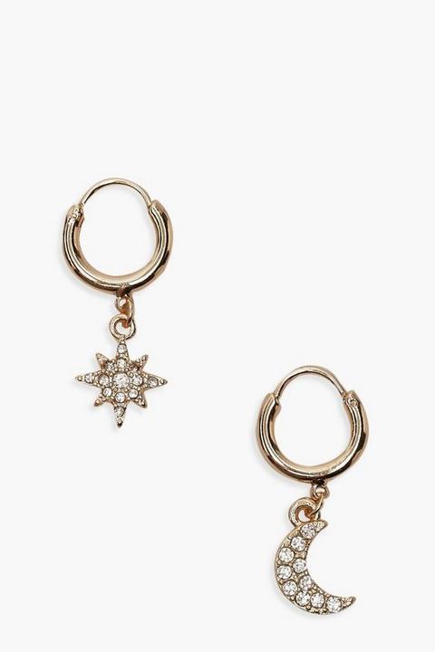 Boucles D'oreilles Créoles À Strass Étoile Et Lune - Taille Unique, Or