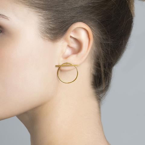 Gold Hoop Earrings With Bar