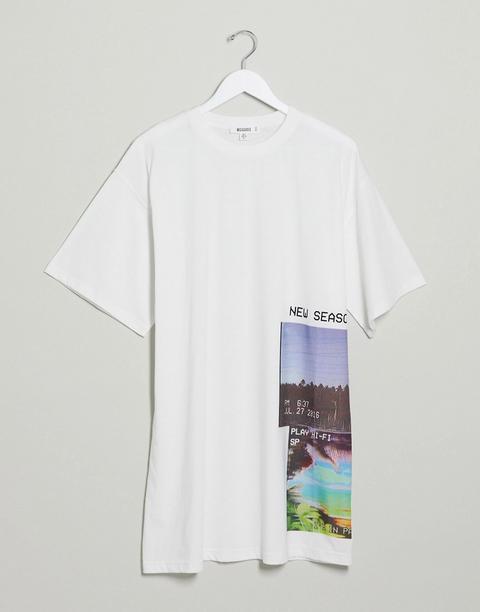 Vestido Extragrande Estilo Camiseta Con Estampado Gráfico En Blanco De Missguided