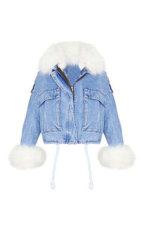 Blue Faux Fur Trim Denim Jacket