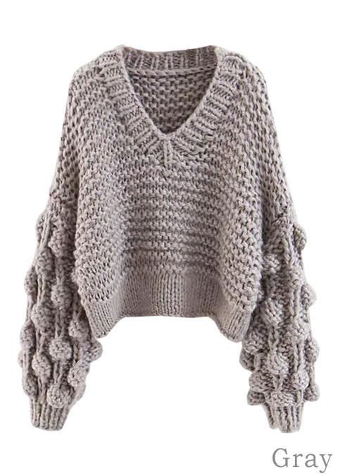Pom Pom Detail V-neck Sweater