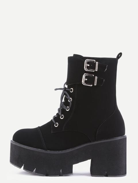 scarpe da ginnastica metà prezzo prezzo più basso Stivali Corti Piattaforma Pu Lacci Fibbia Con Cinghia Nero from ...