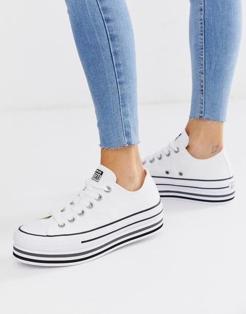 Zapatillas Blancas Con Plataforma Y Diseño A Capas Chuck Taylor Ox All Star De Converse-blanco