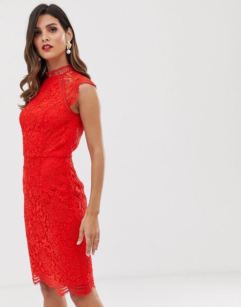 Vestido De Tubo De Encaje Festoneado En Rojo De Chi Chi London de ASOS en 21 Buttons