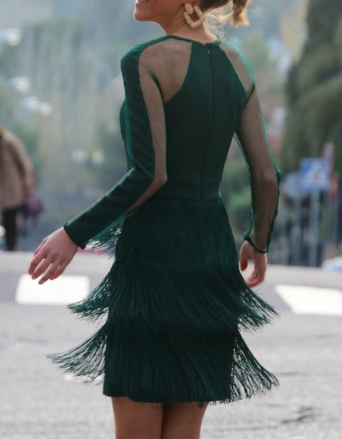 Vestido Flecos Verde