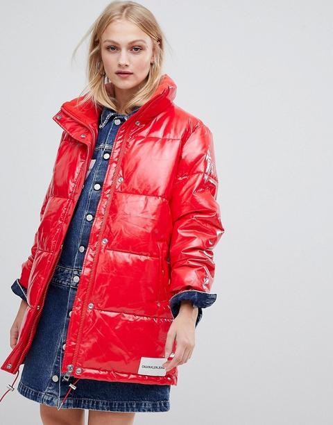 Calvin Klein Jeans - Piumino In Vinile - Rosso