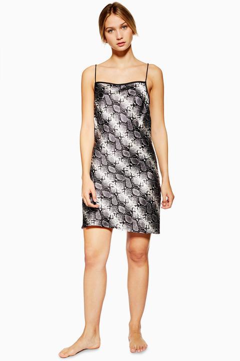 Womens Satin Snake Print Slip Dress - Grey, Grey