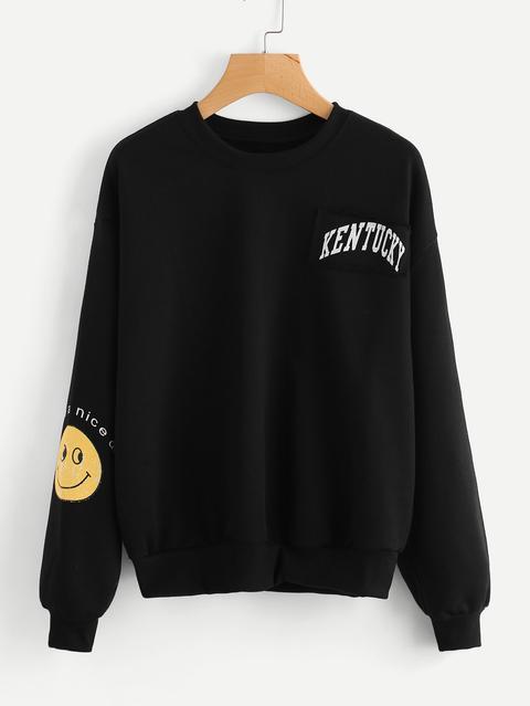 Smiley Face Print Patch Detail Sweatshirt