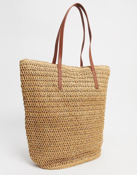 Accessorize Shopper Bag In Straw-neutral