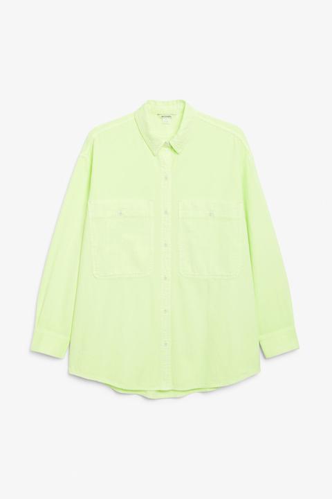 Oversized Cotton Shirt - Yellow