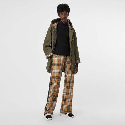 Pantalones En Algodón A Cuadros Vintage Checks Con Detalles En Raso (amarillo Antiguo) - Mujer | Burberry