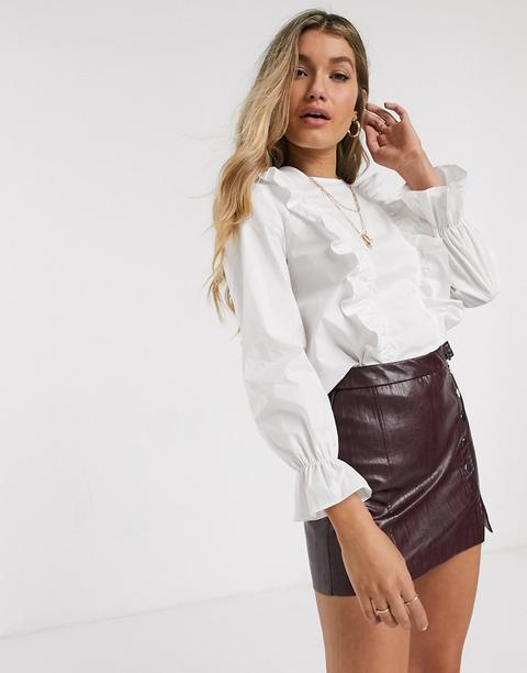 New Look - Blouse En Popeline À Volants - Blanc