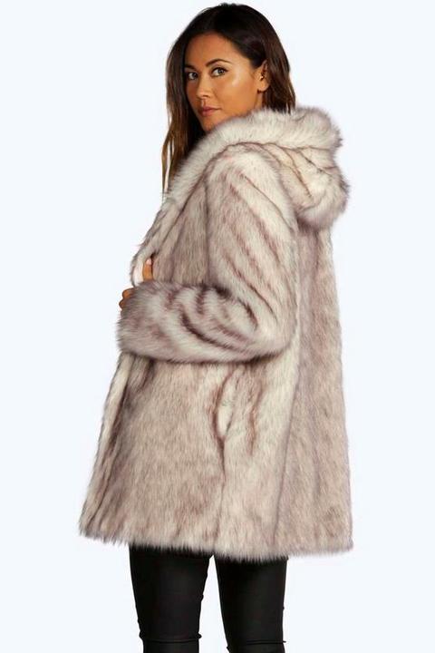 Abrigo Ártico De Piel Sintética Lois Boutique, Crema