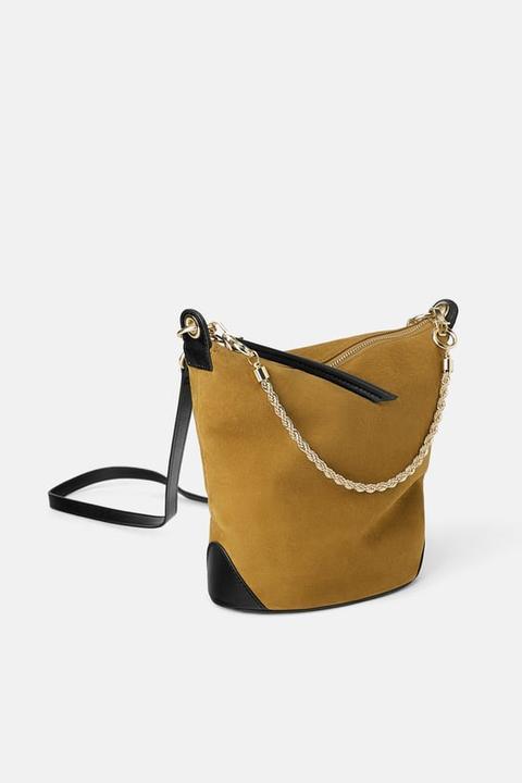 tienda 100% de alta calidad venta barata del reino unido Bolso Saco Cadena Ante from Zara on 21 Buttons