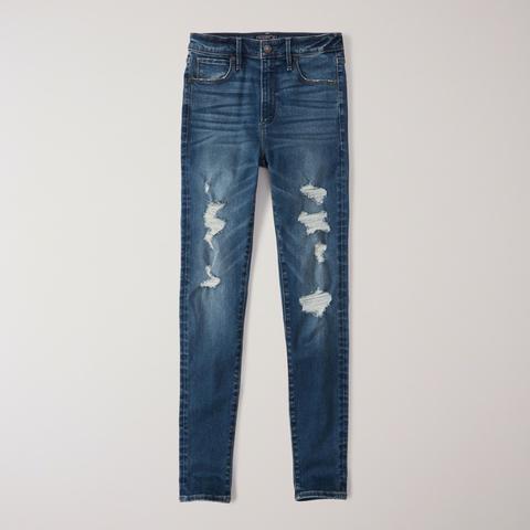 Jeans Superajustados Rasgados De Tiro Alto de Abercrombie & Fitch en 21 Buttons
