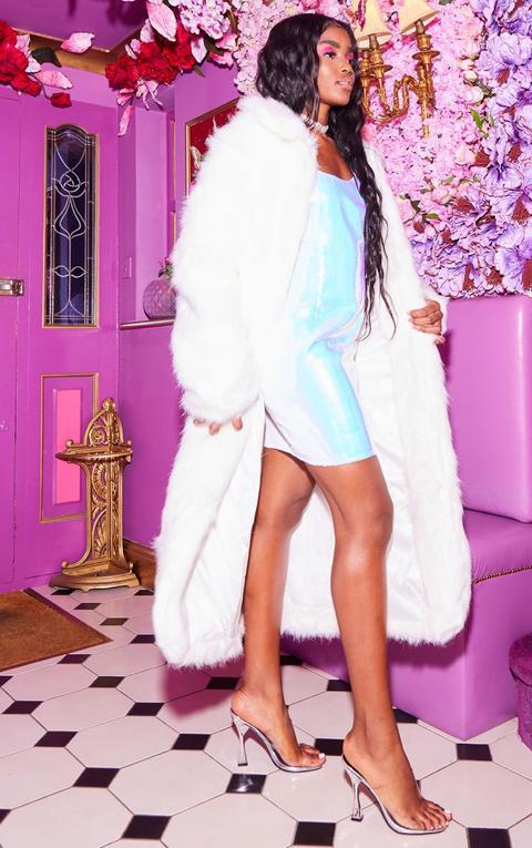 Cream Maxi Faux Fur Coat