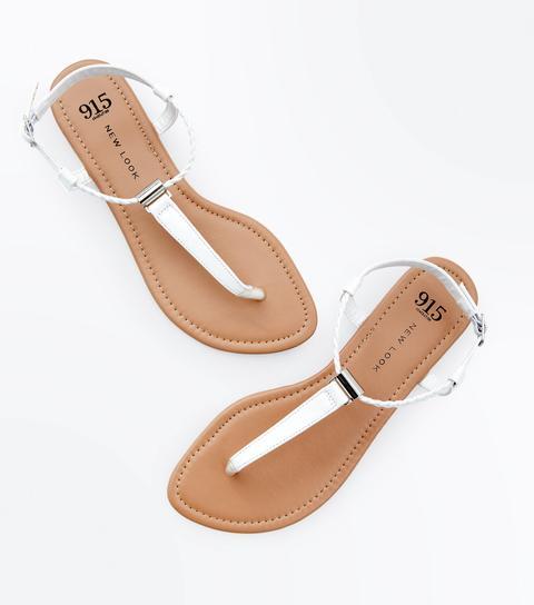Girls White Plait Strap Flat Sandals