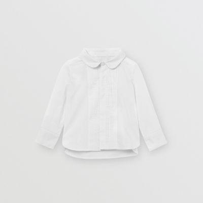 Camisa En Popelina De Algodón Elástico Con Panel Plisado (blanco) - Niños | Burberry de BURBERRY en 21 Buttons