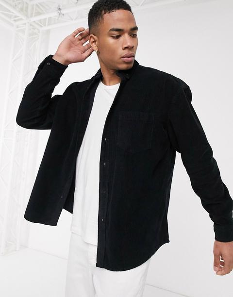 Asos Design Oversized 90s Style Cord Shirt In Black