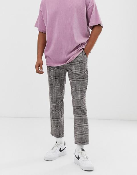 Pantalones De Traje En Beis/gris Charlie De Weekday