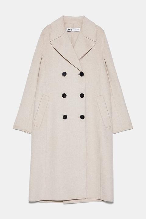 Abrigo Cruzado Botones de Zara en 21 Buttons