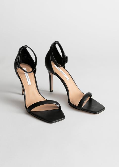 Square Toe Leather Stiletto Sandals