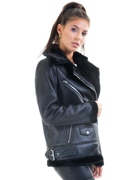 Cazadora Biker Negra De Borrego Vmpop De Vero Moda | Buylevard de Buylevard en 21 Buttons