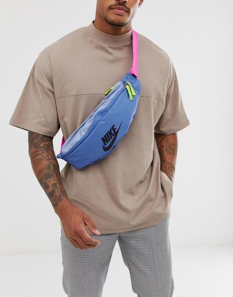 order online shop best sellers genuine shoes Nike - Sac Banane Avec Logo Futura - Bleu Rose - Bleu from ASOS on 21  Buttons