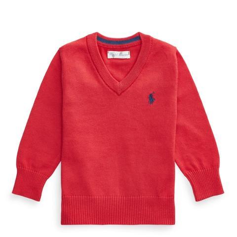 Jersey De Cuello De Pico De Algodón de Ralph Lauren en 21 Buttons