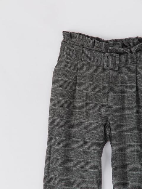 Pantaloni Paper Bag Con Principe Di Galles Var Nero