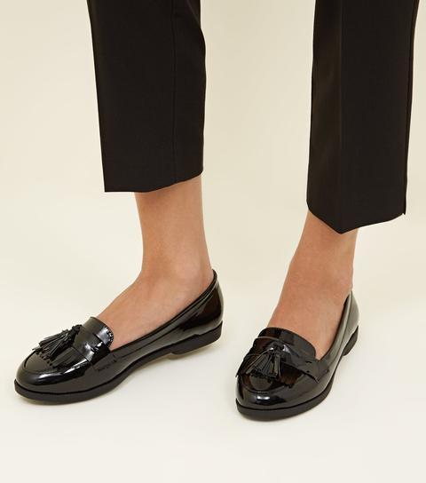 Black Patent Tassel Fringe Trim Loafers
