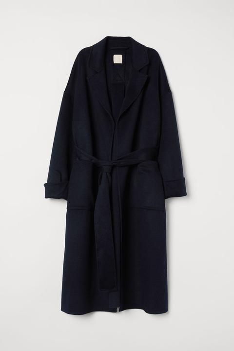 Abrigo En Mezcla De Lana - Azul de H&M en 21 Buttons