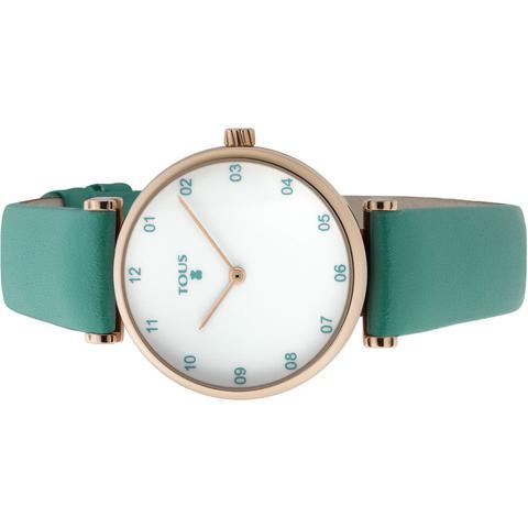 Reloj Camille De Acero Ip Rosado Con Correa De Piel Verde