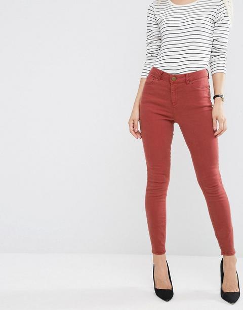 Asos - Ridley - Jeans Skinny A Vita Alta Ruggine - Rosso