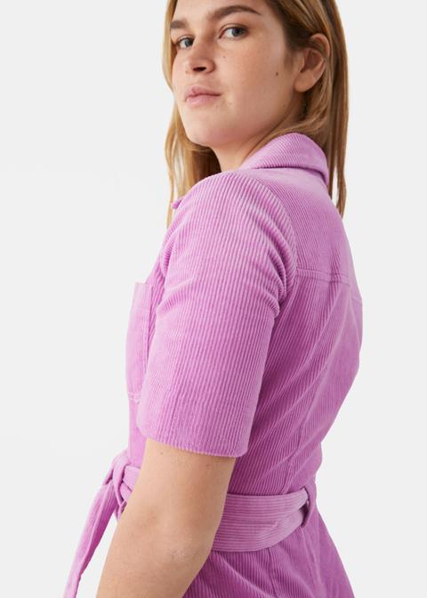 Corduroy Knot Belt Jumpsuit