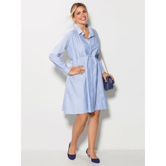 Vestido Camisero Rayas Tallas Grandes Azul L From Venca On 21 Buttons