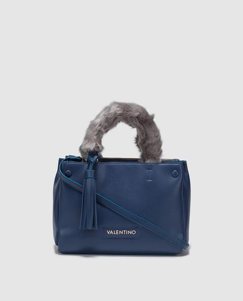 Valentino - Bolo De Mano En Azul Con Detalle De Pelo En Asas de El Corte Ingles en 21 Buttons