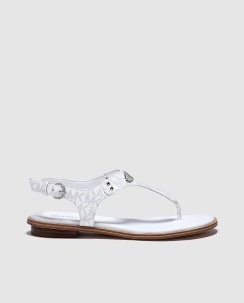 Michael Michael Kors - Sandalias Planas De Mujer Michael Kors De Color Blanco Con Logo Mk. Modelo Plate Thong. de El Corte Ingles en 21 Buttons