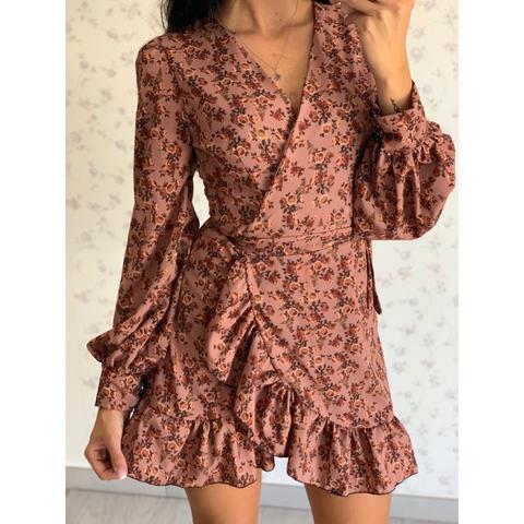 Dress A Portafoglio Autunno Fondo Rosa Antico from Marlena Shop on 21 Buttons