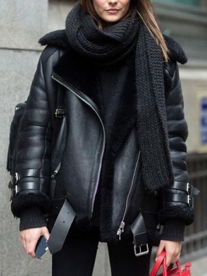 Damen Taschen From Cichic Reißverschluss 21 Mantel Fell Teddyfutter Gürtel Buttons Biker Wildleder Mode On Schwarz Jacke Mit 0PknO8w