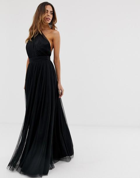 Vestido Largo Asimétrico De Tul De Asos Design-negro