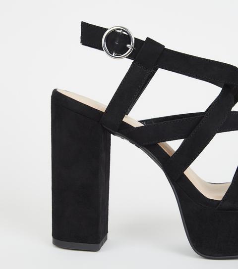 platform black strappy heels