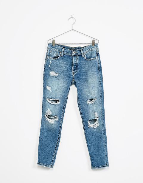 Jeans Slim Boyfriend Rotos